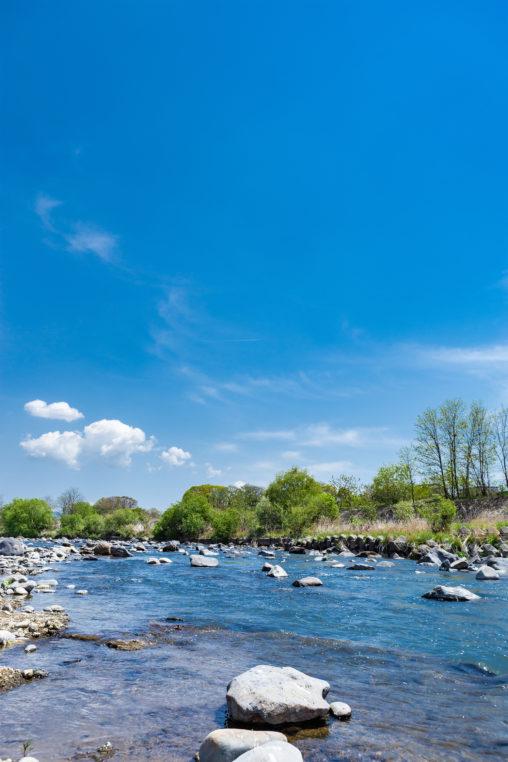 青空と千曲川の写真素材