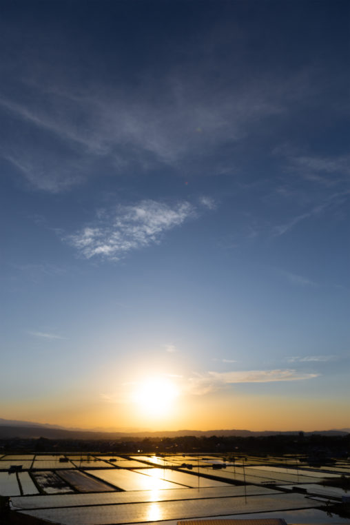 水田に反射しながら沈む夕日の写真素材