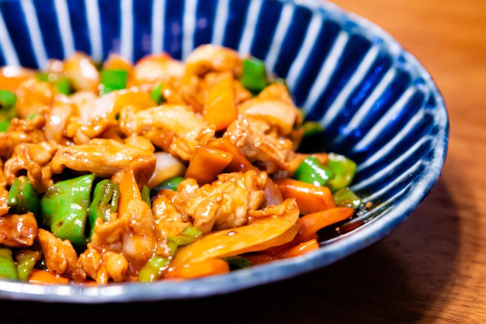 ケチャップの肉野菜炒めの写真素材