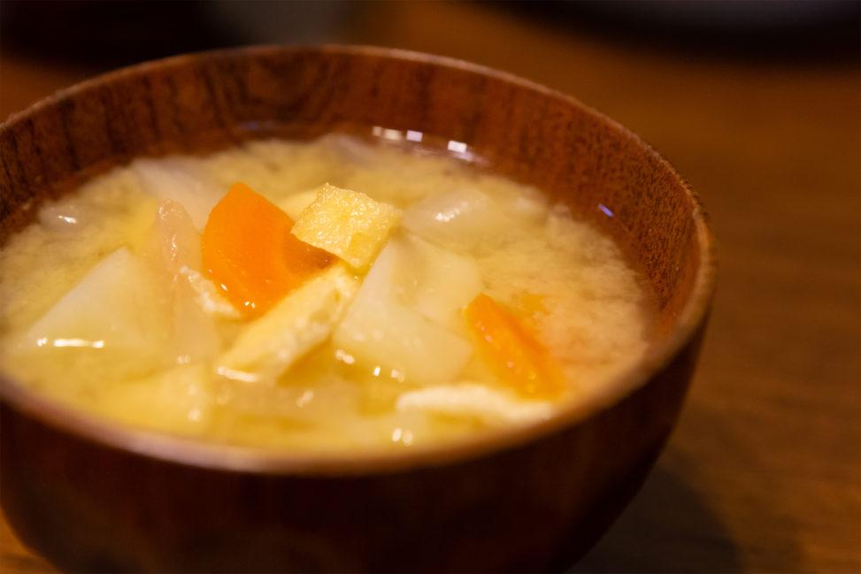 野菜たっぷりのお味噌汁(みそ汁)の写真素材