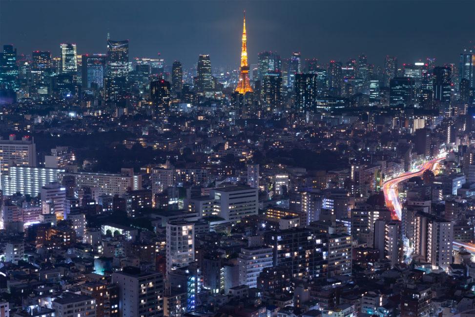 東京タワーと夜景03の写真素材