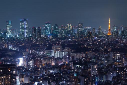 東京タワーと夜景04の写真素材