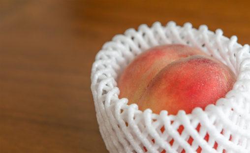 桃(フルーツネット付き)の写真素材