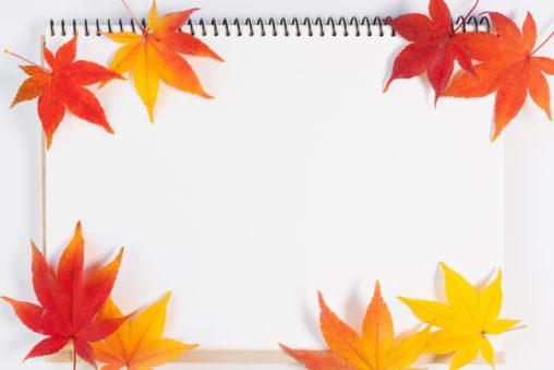 スケッチブックと紅葉/もみじ/楓のフレーム・囲み枠の写真